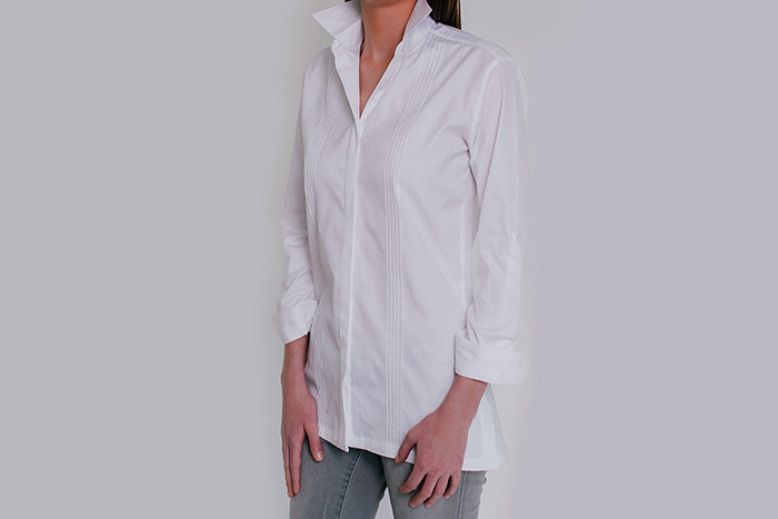 Rolled Sleeves Tunic Pintuck Clothing