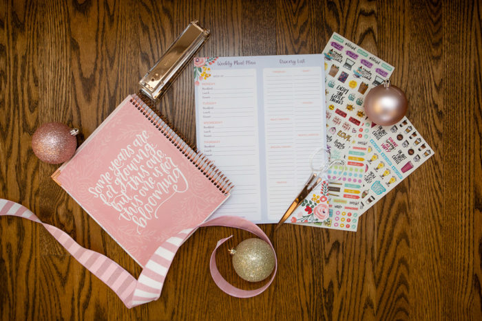 5 Days of Very Merry Holiday Giveaways: Bloom Planners Giveaway by popular Michigan life and style blog: image of a Bloom 2020 VISION PLANNER & CALENDAR, Bloom MEAL PLANNING PAD WITH MAGNETS & PERFORATED SHOPPING LIST, and Bloom STICKER SHEETS, CLASSIC PLANNER STICKERS.