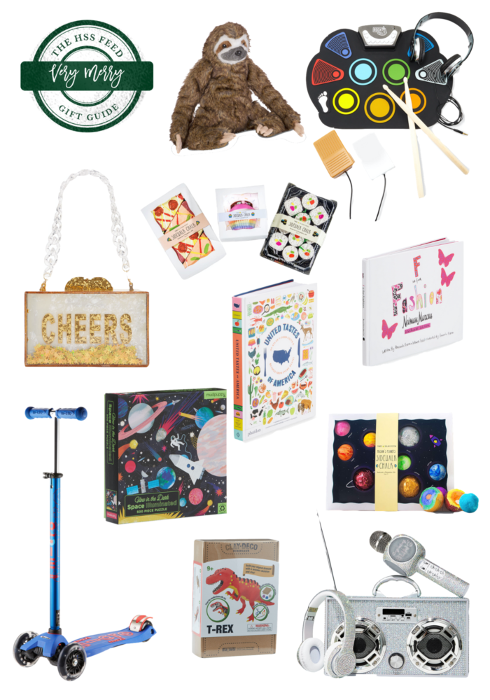 """Very Merry Gift Guide: Neiman Marcus Gift Ideas for Kids by popular Michigan life and style blog, The HSS Feed: collage image of Neiman Marcus Stuffed Sloth, Drum Kit, Acrylic Purse, """"Picnic Lunch"""" Chalk, F is for Fashion Book, Light Up Scooter, Glow in the Dark Space Puzzle, United Tastes of America Book, Solar System Chalk, Clay Dinosaur Kit, Bling Karaoke Microphone, Boom Box and Headphones."""