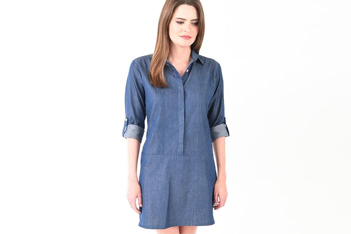 Pintuck Shift Dress