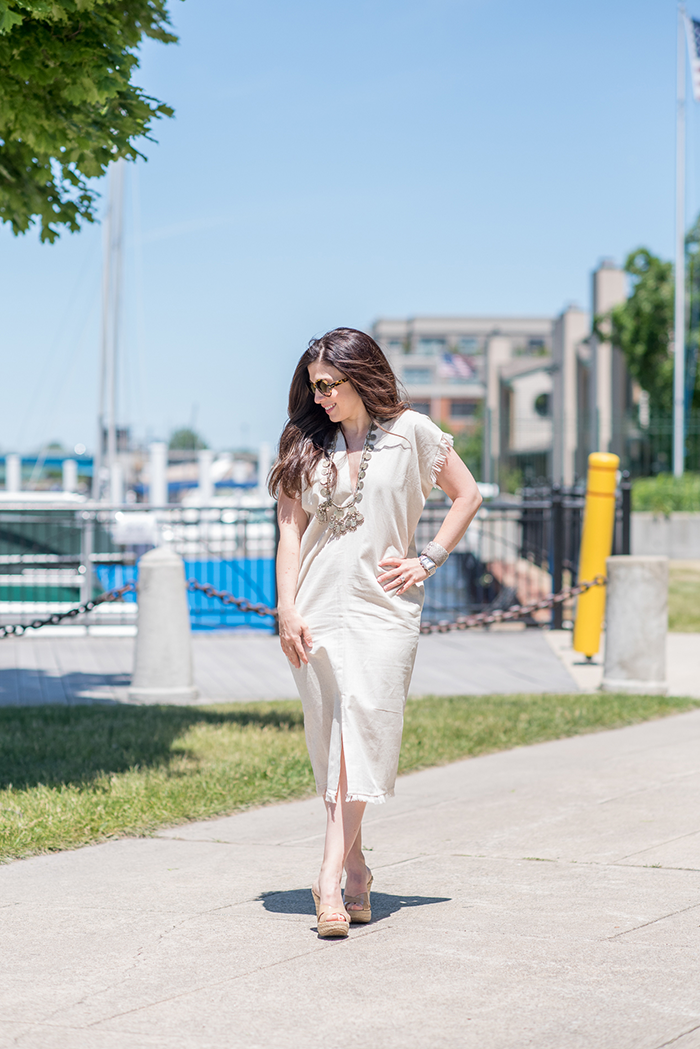 How to style a caftan for summer | Mirth Caftans by popular Michigan fashion blog, The HSS Feed: image of a woman wearing a Corfu mirth caftan.
