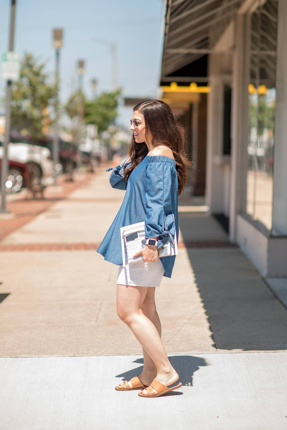 Denim Top and Truffle Pouch