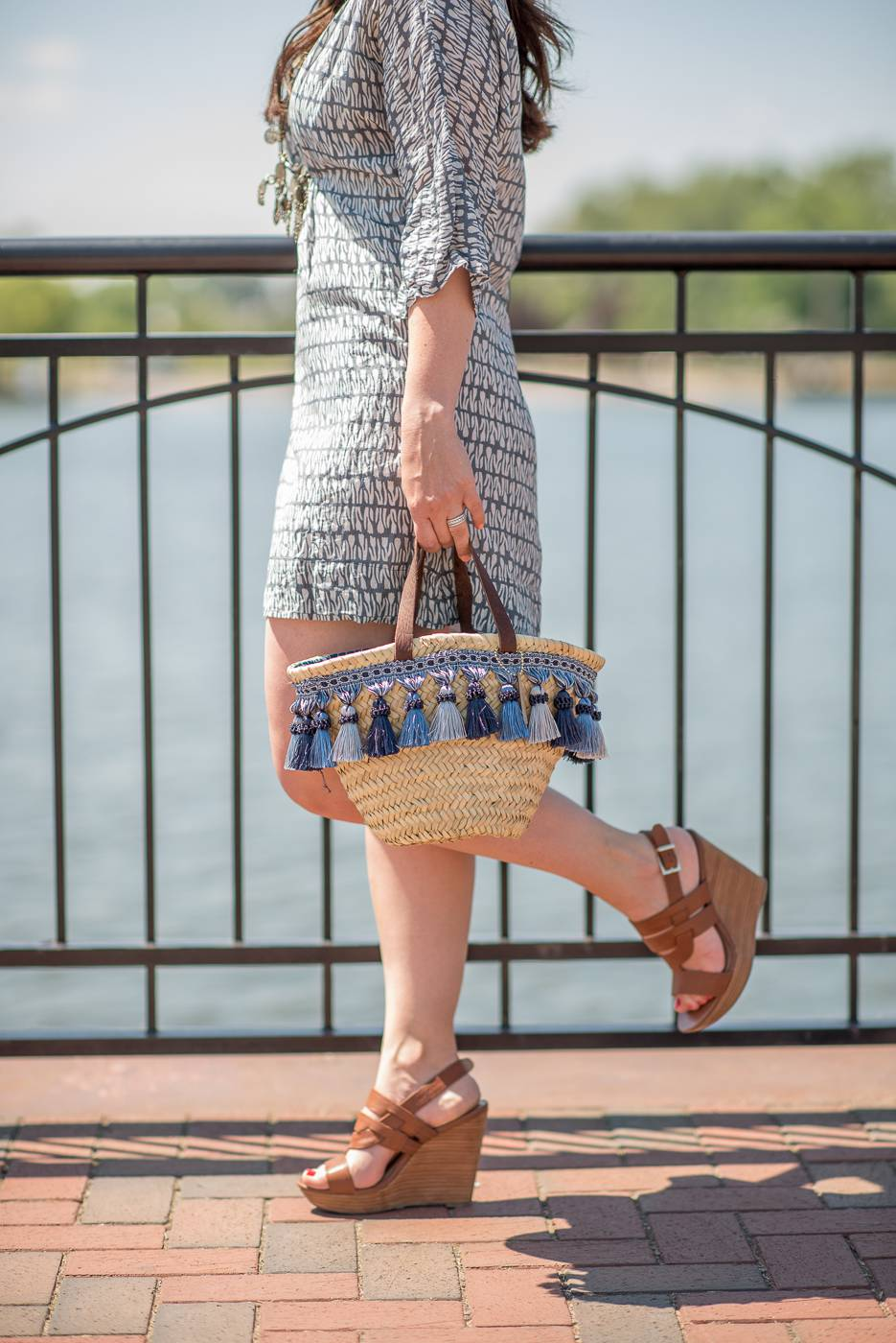 straw tote with tassels