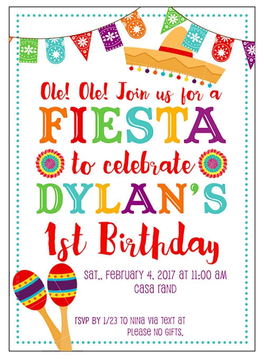 Fiesta Birthday Party by popular Michigan lifestyle blog, The HSS FEED: image of a fiesta themed birthday invitation.