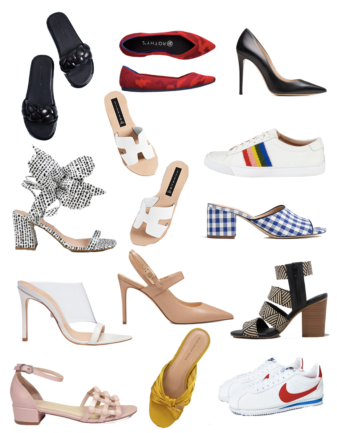 Summer Shoes List by popular Michigan fashion blog, The HSS Feed: collage image of Rebecca Minkoff Braided Slides, Rothy's Red Camo Flats, M. Gemi Heels, Cecelia New York Hibiscus Heels,Steven Greece Slides, Loeffler Randall Rainbow Sneakers, J.Crew Gingham Mules, Schutz x Adriana Lima Naked Mules, Nine West Slingbacks, Universal Thread Huarache Sandals, BURU Blush Sandals, Who What Wear Sandals, and Nike Cortez Classic Sneakers.