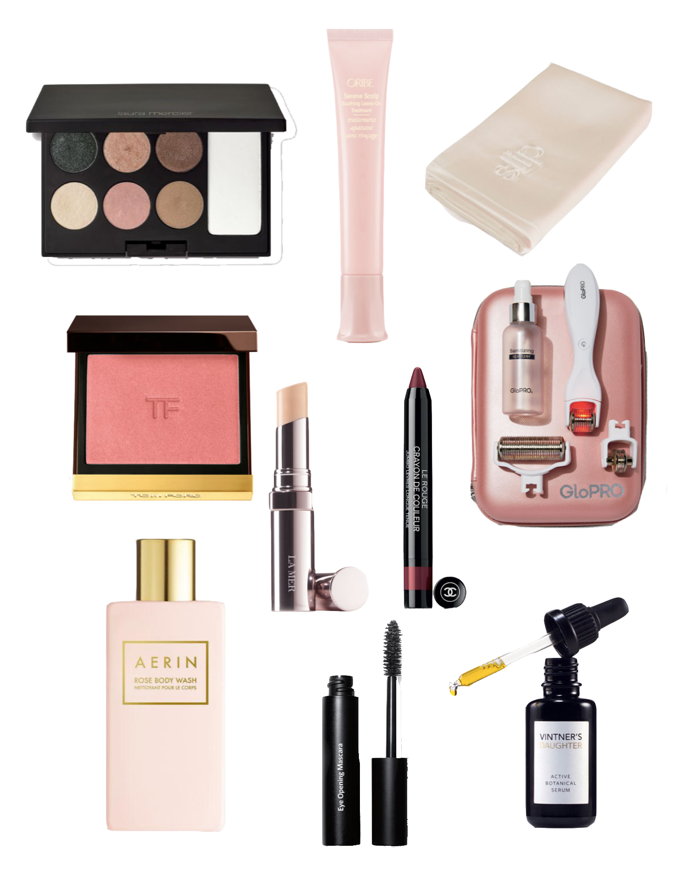 Neiman Marcus Beauty Event by popular Michigan beauty blog, The HSS Feed: collage image of Tom Ford cheek color, Vintner's Daughter serum, Oribe Serene scalp treatment, La Mer the concealer, Laura Mercier eye clay pallet, Bobbi Brown mascara, and Chanel rouge crayon.