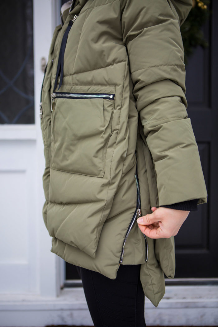Amazon Coat review featured by top US fashion blog, The HSS Feed: image of a woman wearing an Amazon puffer olive coat.