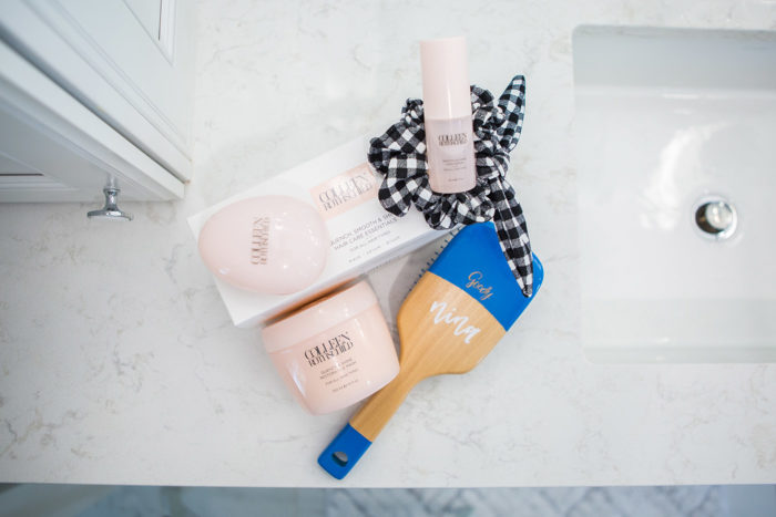 Colleen Rothschild Hair Mask by popular Michigan beauty blog, The HSS Feed: image of the Colleen Rothschild hair mask kit a goody brush and black and white gingham scrunchie.