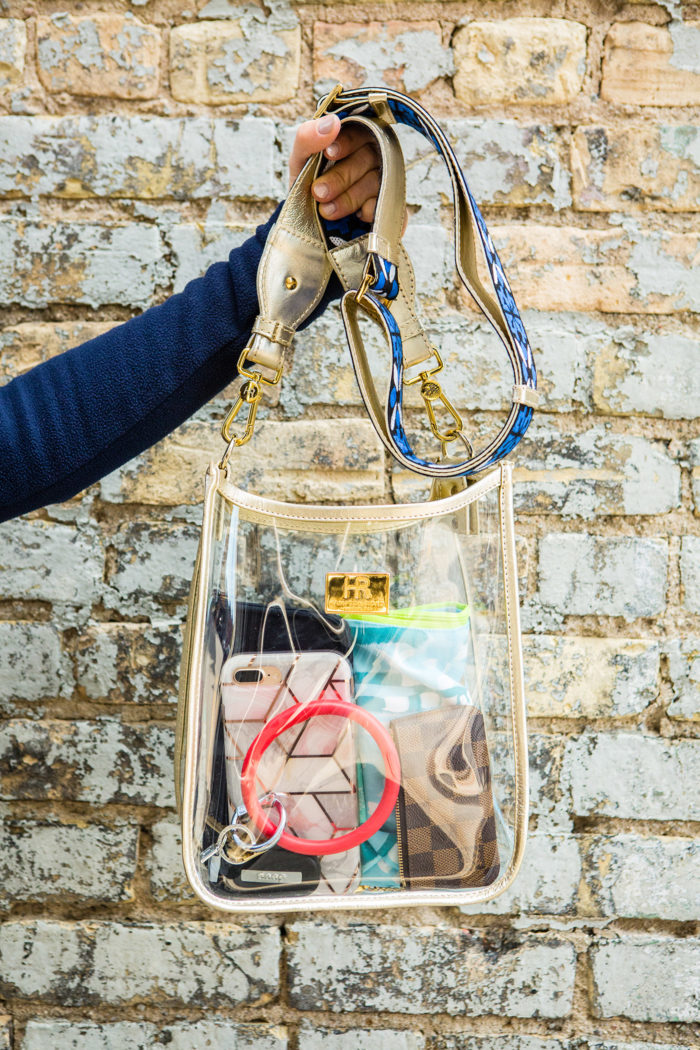 Hampton Road Designs Clear Gameday Bags styled by top US fashion blog, The HSS Feed: image of a woman wearing dudley stephens turtleneck bay city michigan