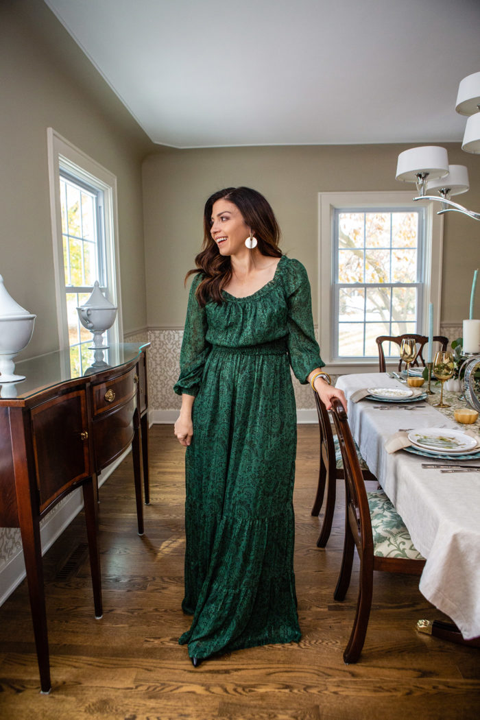 3 Cute and Trendy Thanksgiving Outfit Ideas featured by top US fashion blog, The HSS Feed.: image of a woman wearing a Gal Meet Glam dress, Julie Vos bracelet, Kendra Scott earrings and Sarah Flint heels