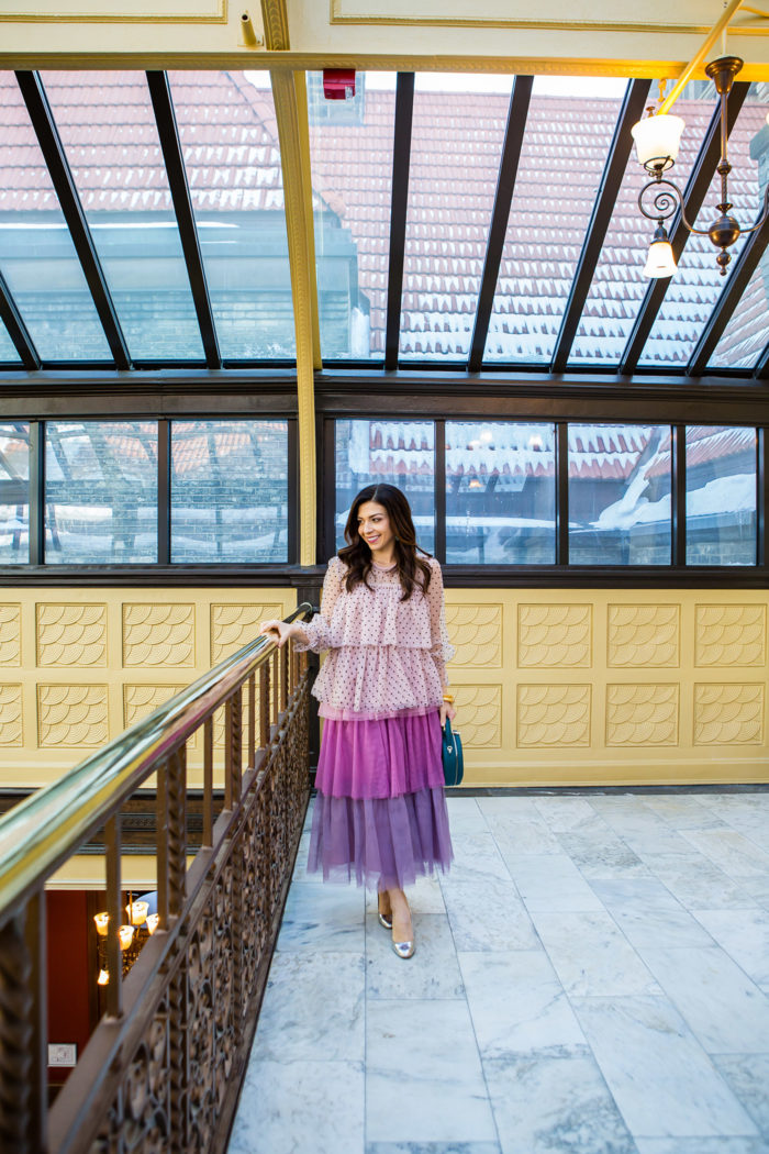 Holiday party looks styled by top US fashion blog, The HSS Feed: image of a woman wearing Halogen x Atlantic Pacific ruffle maxi skirt and top, J Crew Heels, Kendra Scott earrings and Julie Vos bracelets.