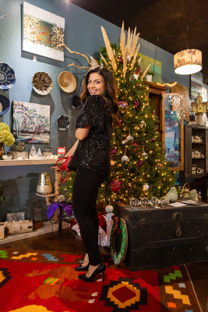 Holiday party looks styled by top US fashion blog, The HSS Feed: image of a woman wearing a Duffield Lane sequin top, J.Crew pants, Sarah Flint heels, Lisi Lerch earrings and Gucci bag.