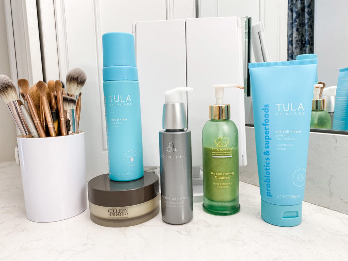 best cleansers | The Best Skin Cleansers by popular Michigan beauty blog, The HSS Feed: image of Tula face cleansers, Tata Harper regenerating cleanser, and Radiant cleansing balm.