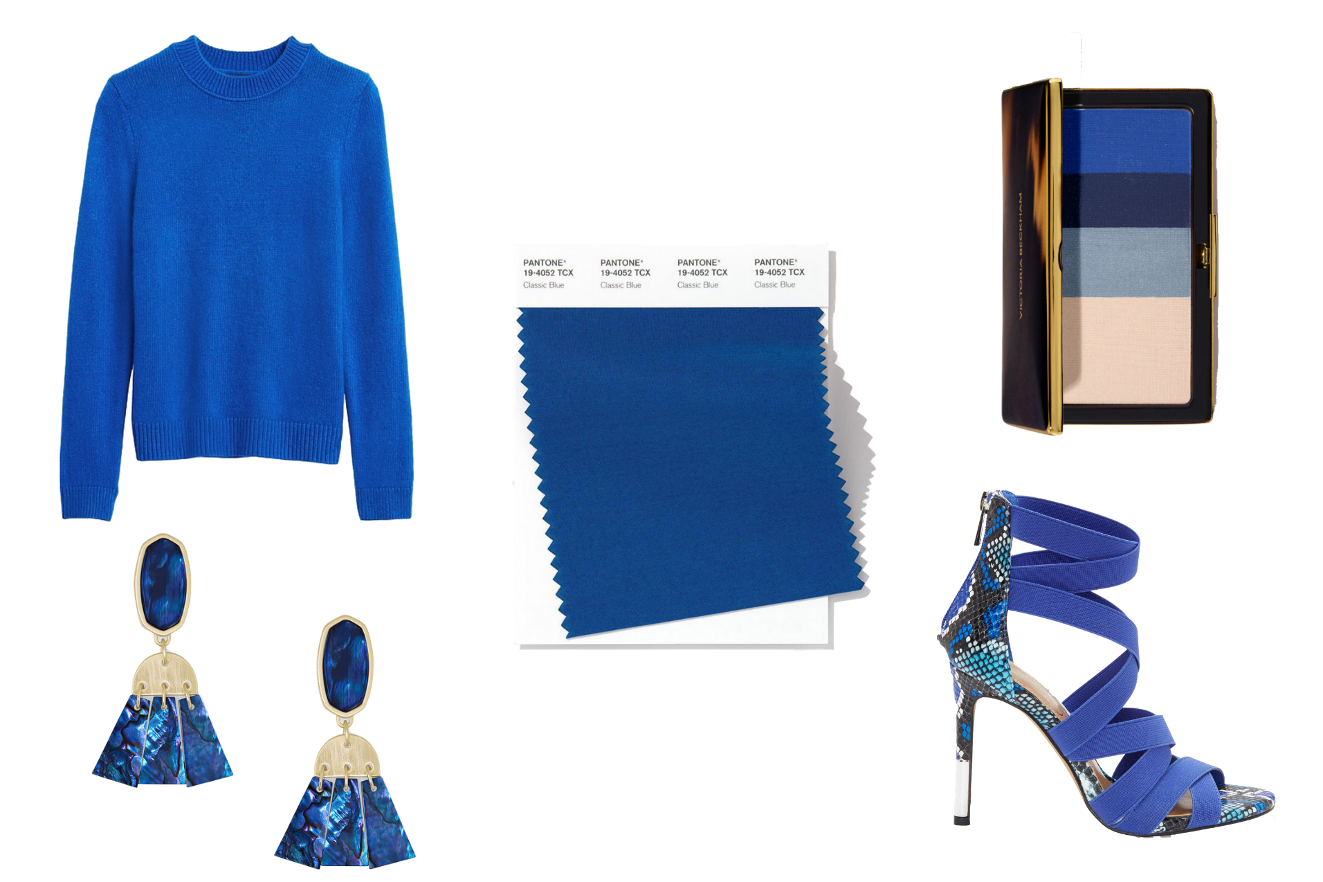 Pantone Classic Blue Fashion by popular Michigan fashion blog, The HSS Feed: collage image of a blue sweater, blue earrings, blue shoes, blue makeup pallet, and blue paint swap.
