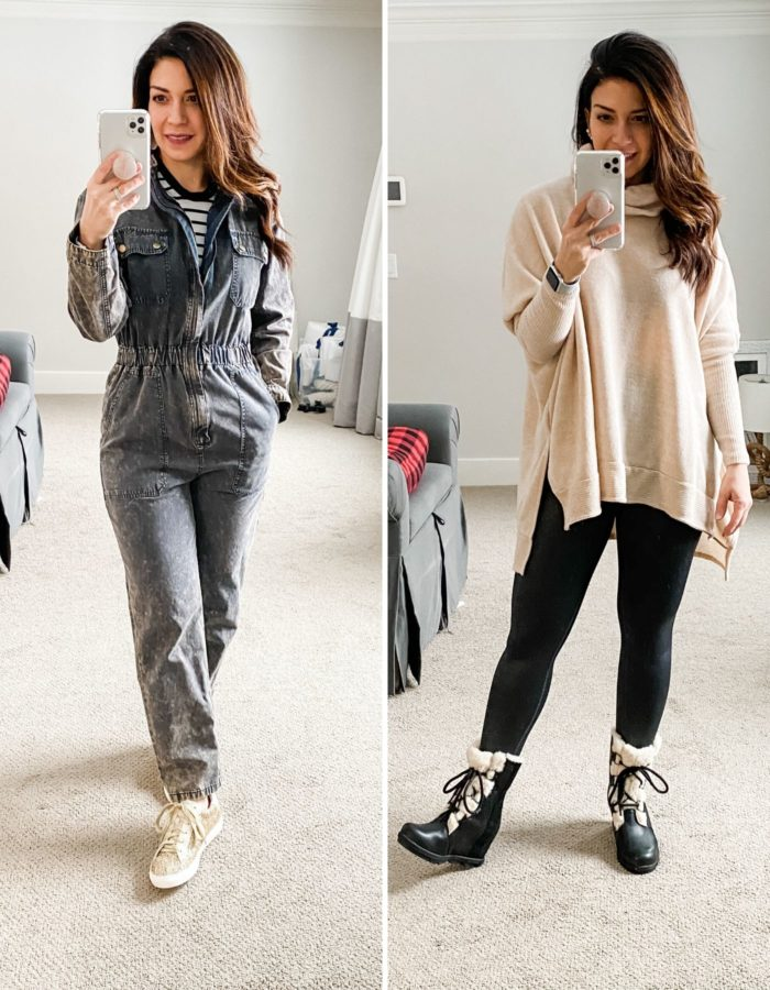 All New Winter Mom Style at BURU by popular Michigan fashion blog, The HSS Feed: image of a woman wearing Buru Mama's Coveralls, Nordstrom Northside Vintage Stripe Long Sleeve Tee MADEWELL, Star Gaze Glitter Sneakers Gold, Kendra Scott Didi Statement Earrings In Gold, Buru The Go-To Top Oatmeal, Athleta Elation Ultra High Rise Shimmer Tight In Powervita, ShopBop Sorel Joan Wedge Shearling Boots, and Kate Spade front/back bauble studs KATE SPADE NEW YORK.