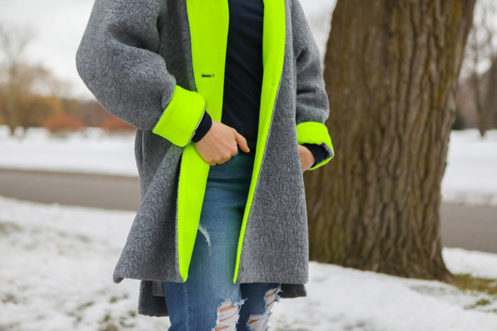dudley stephens cocoon coat | Why I Love Dudley Stephens by popular Michigan fashion blog, The HSS Feed: image of a woman wearing a Dudley Stephens Neon Yellow Rockaway Cocoon Coat in Shearling.