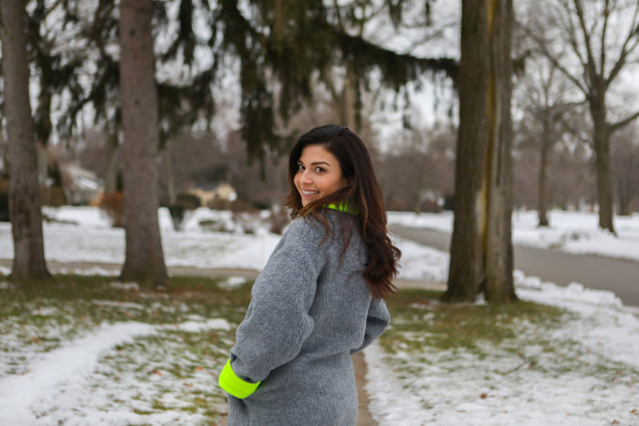 dudley stephens   Why I Love Dudley Stephens by popular Michigan fashion blog, The HSS Feed: image of a woman wearing a Dudley Stephens Neon Yellow Rockaway Cocoon Coat in Shearling.