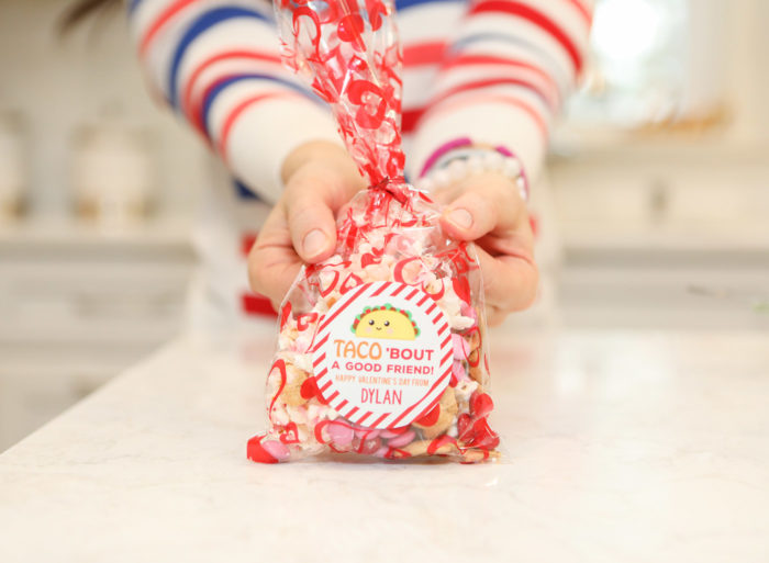 Valentine Treats for Kids by popular Michigan lifestyle blog, The HSS Feed: image of a woman holding a Amazon Boao Valentine treat bag with a Etsy Chickabug Valentine's Day Stickers - TACO 'bout a Good Friend on it.