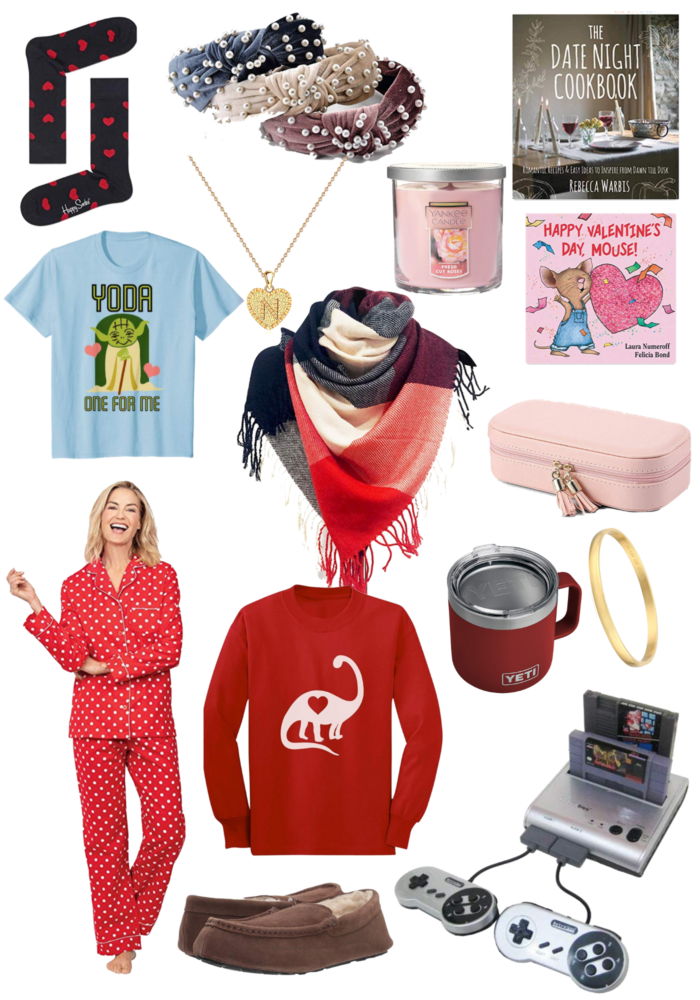 amazon valentine's gifts | Last Minute Amazon Valentine's Gifts by popular Michigan life and style blog, The HSS Feed: collage image of pear head bands, heart socks, yoda tshirt, Happy Valentines' Day Mouse book, yeti traveler mug, Nintendo, scented candle, date night cook book, heart pj set, travel jewelry case, initial necklace, and scarf.