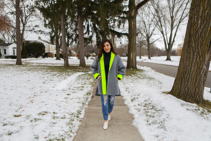 dudley stephens review | Why I Love Dudley Stephens by popular Michigan fashion blog, The HSS Feed: image of a woman wearing a Dudley Stephens Neon Yellow Rockaway Cocoon Coat in Shearling.