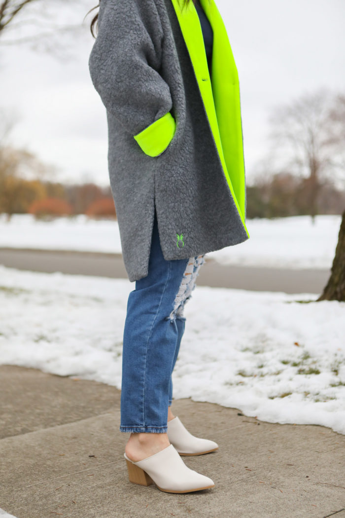 dudley stephens and mom jeans   Why I Love Dudley Stephens by popular Michigan fashion blog, The HSS Feed: image of a woman wearing a Dudley Stephens Neon Yellow Rockaway Cocoon Coat in Shearling.