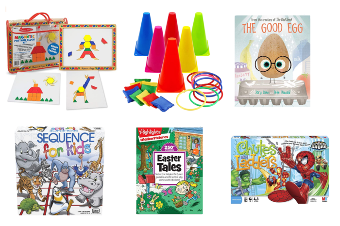 At Home Activities for Kids by popular Michigan lifestyle blog, The HSS Feed: image of Magnetic pattern blocks, ring toss, sequence for kids, Highlights hidden pictures Easter Tales, Chutes and Ladders, and The Good Egg book.