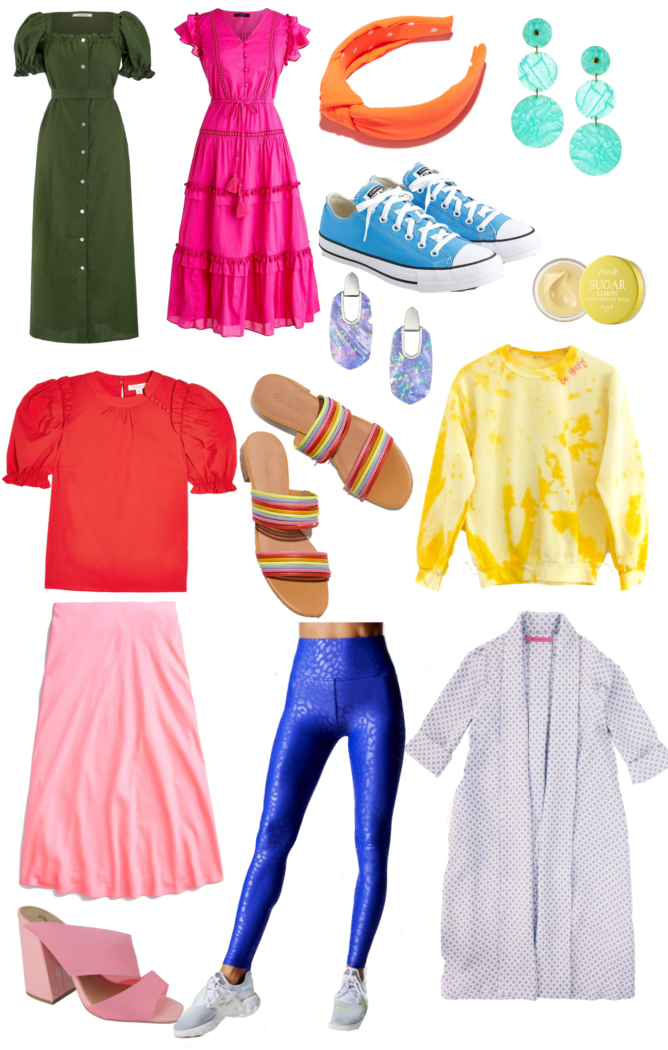 "bright spring outfits | Cute Spring Outfits by popular Michigan fashion blog, The HSS Feed: collage image of Green Linen Maxi Dress, J.Crew Pom Pom Dress, Lele Sadoughi Headband, Converse Blue Sneakers, Lisi Lerch Earrings, Topshop Puff Sleeve Top, Madewell Rainbow Sandals, Kendra Scott Earrings, Fresh Lemon Lip Balm, Tie Dye ""Be Happy"" Sweatshirt, J.Crew Slip Skirt, BURU Barbie Pink Sandals, Carbon 38 Blue Leopard Leggings, BURU Lavender Swing Coat"