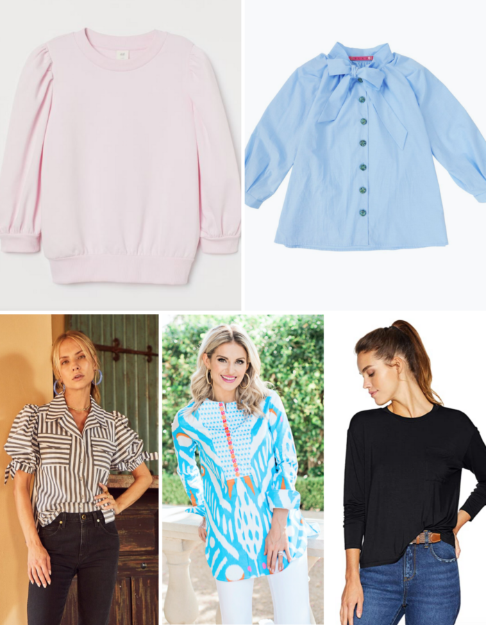 tops to wear to a zoom meeting | Tops to Wear to a Zoom Meeting by popular Michigan fashion blog, The HSS Feed: collage image of a H&M puff sleeve sweatshirt, Buru bow blouse, Hunter Bell Striped Blouse,  Sheridan French Tunic, and Daily Ritual Tee.