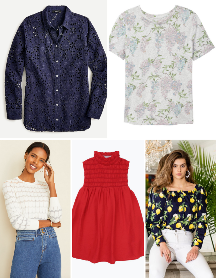 tops to wear to a zoom meeting | Tops to Wear to a Zoom Meeting by popular Michigan fashion blog, The HSS Feed: collage image of a J.Crew Eyelet Button-down, Rebecca Taylor Floral Tee, Ann Taylor Chevron Sweater, BURU Smocked Top, and The Shirt Lemon Top.