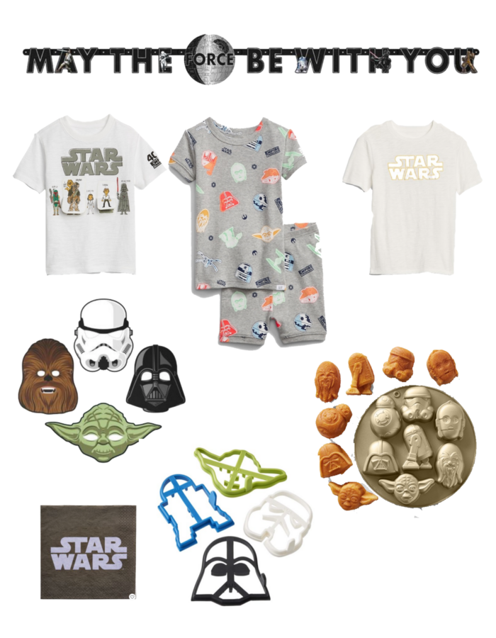 star wars party essentials | Star Wars Party Ideas by popular Michigan lifestyle blog, The HSS Feed: collage image of a star wars banner, Star Wars shirts, Star Wars pajama set, Star wars party masks, Star Wars cookie cutters, Star Wars napkins, and a Star Wars pancake mold.