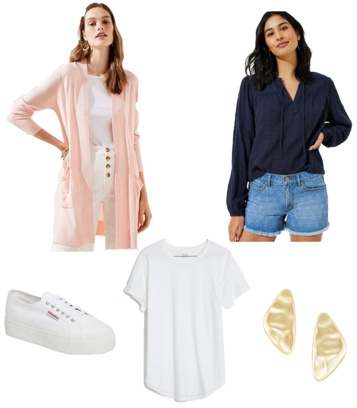 spring outfit ideas easy everyday | Spring Outfit Ideas by popular Michigan fashion blog, The HSS Feed: collage image of printed denim shorts, a pink cardigan, white platform sneakers, a white t-shirt, and gold earrings.