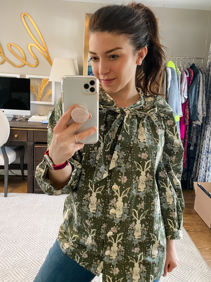 tops to wear to a zoom meeting BURU Bunny Blouse | Tops to Wear to a Zoom Meeting by popular Michigan fashion blog, The HSS Feed: image of a woman wearing a Buru Bunny Bow Blouse.