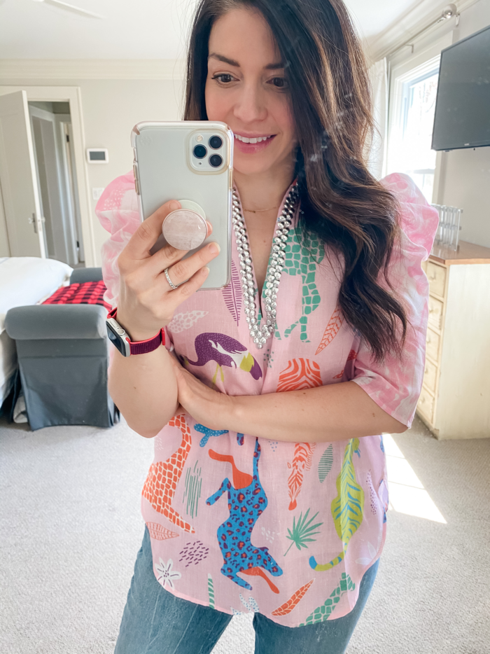 tops to wear to a zoom meeting Sheridan French Tunic | Tops to Wear to a Zoom Meeting by popular Michigan fashion blog, The HSS Feed: image of a woman wearing a Sheridan French Tunic.