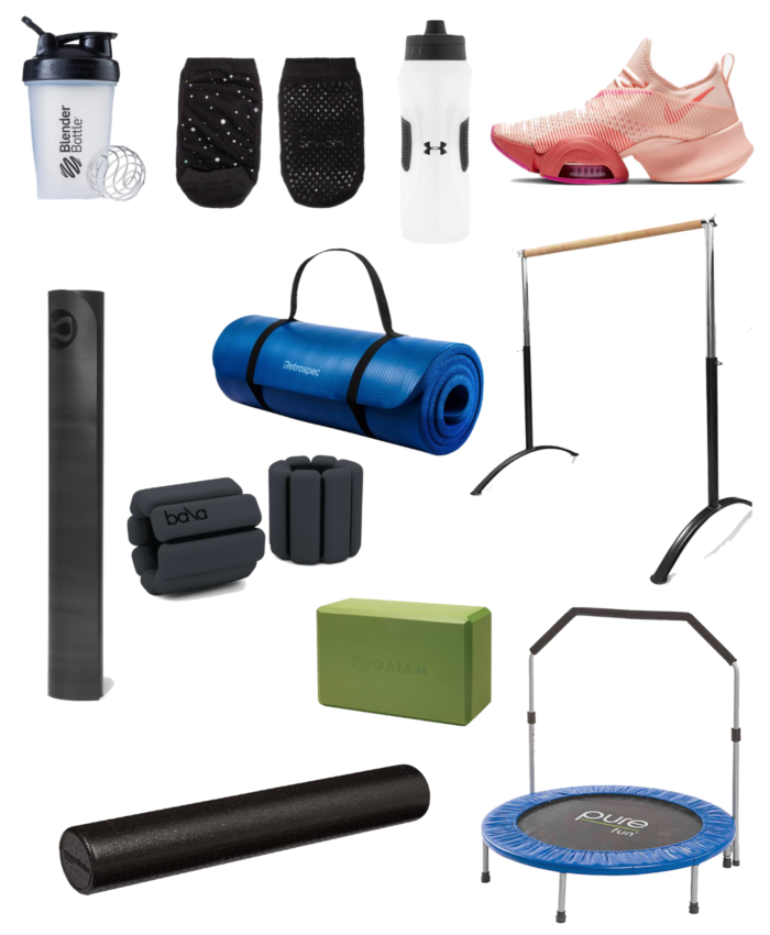 at home workout essentials | Home Workout Essentials by popular Michigan lifestyle blog, The HSS Feed: collage image of Bala Bangles + Weights, Blender Bottle, Water Bottle, Pure trampoline, ballet bar, Yoga Mat x 2, Yoga Blocks, sneakers and a foam roller.